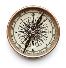 Antique Compass Close Up Isolated On White Background