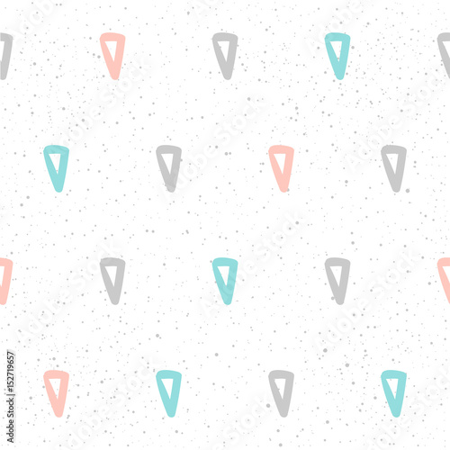 Handmade seamless pattern background. Abstract blue, grey and pink colored pattern