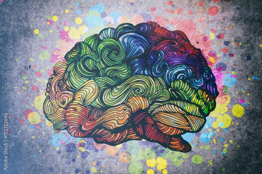 Fototapety, obrazy: Brain doodle illustration with textures