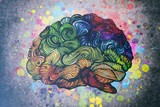 Brain doodle illustration with textures