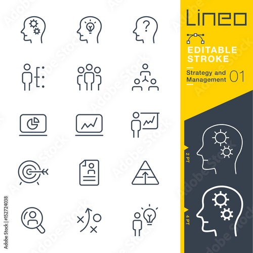 Fotografie, Obraz  Lineo Editable Stroke - Strategy and Management outline icons