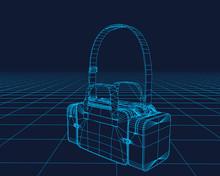 Bag Vector Wireframe, Perspective 3d Technology Vector Illustration