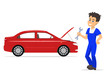 Vector illustration cartoon mechanic man with a wrench. Isolated white background. Concept of business service car repair. Boy workman in blue work clothes with a working tool.