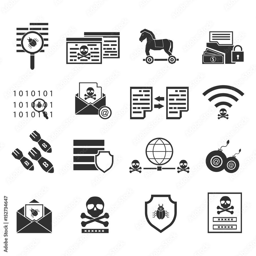 Fototapeta Cybercrime internet network security black icon. Vector illustration cyber crime online security concept.