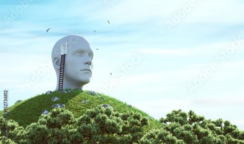 Testa di uomo con porta aperta, immaginazione e pensieri Tapéta, Fotótapéta