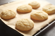 Tasty Sugar Cookies On Parchment Paper, Closeup