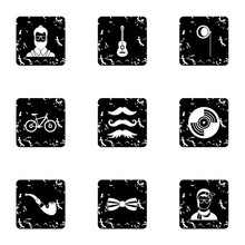Trendy Hipsters Icons Set, Grunge Style