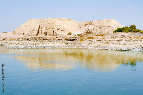 Fototapeta The Great Temple of Ramesses II view from Lake Nasser, Abu Simbel, Egypt