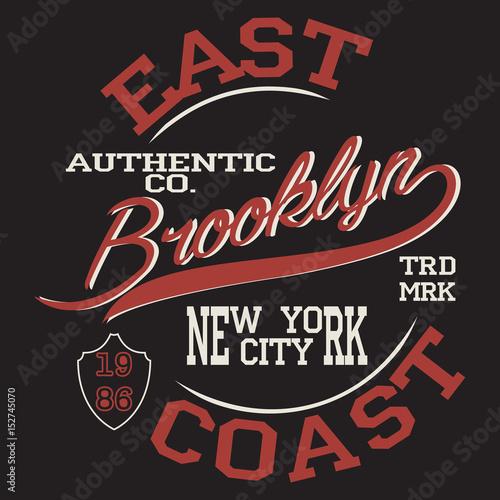 Brooklyn. New York Sport wear typography emblem 828020144