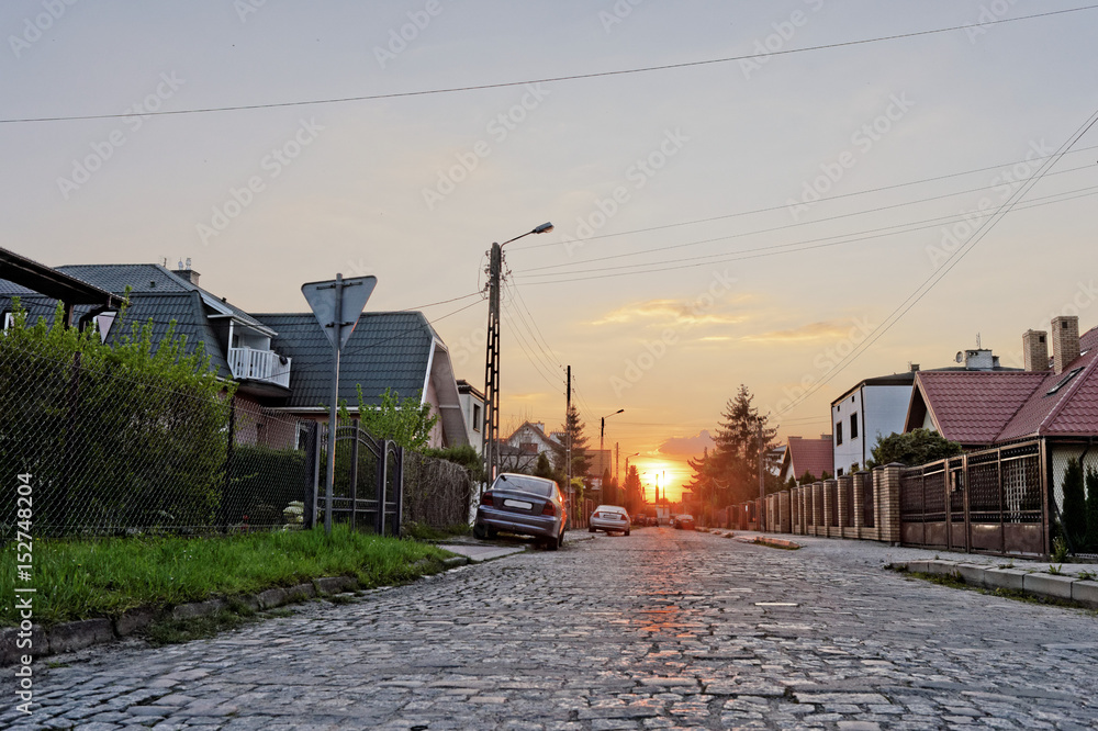 Fototapety, obrazy: zachód słońca w mieście