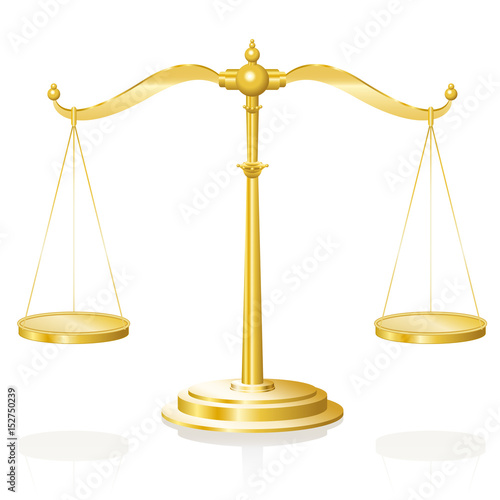 Fotografía  Balance scale - golden weighing device with two hanging pans perfectly balanced - isolated vector illustration on white background