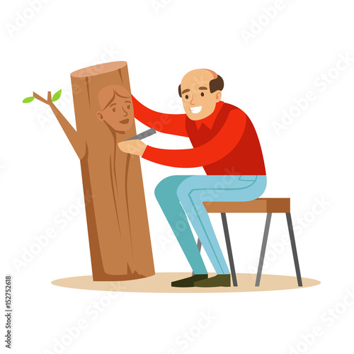 Slika na platnu Craftsman is carving a portrait of a woman over a piece of trunk