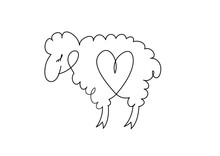 Vector Drawing . Lamb With The Heart Inside.