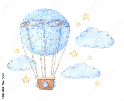 Fotografie, Obraz  Hand drawn watercolor illustration - hot air balloon in the sky