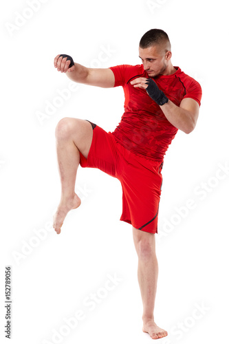 Photo Young kickbox fighter on white
