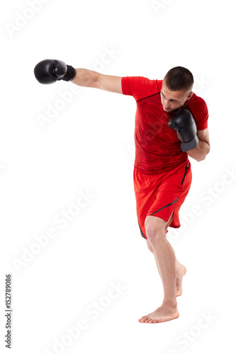 Young kickbox fighter on white Wallpaper Mural