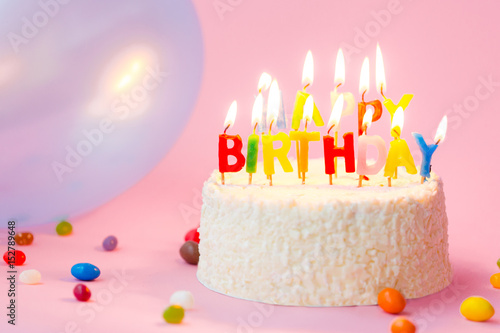 Marvelous Happy Birthday Cake With Candles On Pink Background With Balloons Funny Birthday Cards Online Alyptdamsfinfo