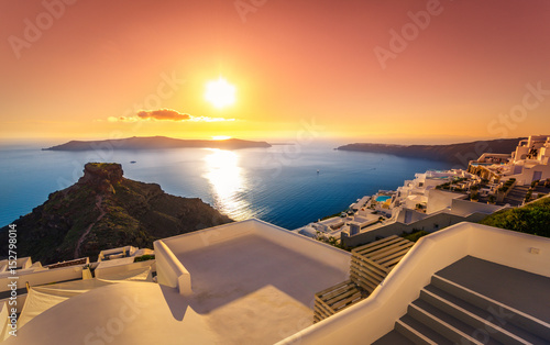 Amazing sunset at Imerovigli, Santorini, Crete, Greece.
