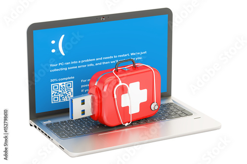 Laptop, repair and service concept. 3D rendering
