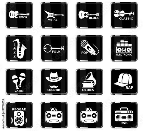 musical genre web icons Wallpaper Mural