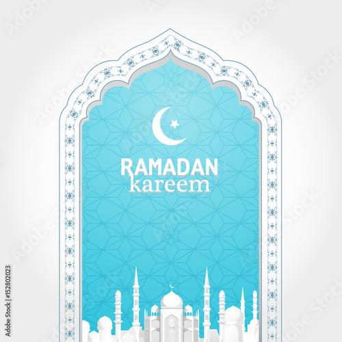Ramadan Kareem Greeting Card. Traditional Arabic Window Patterns. Arab  Urban Landscape