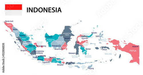Cuadros en Lienzo Indonesia - map and flag – illustration