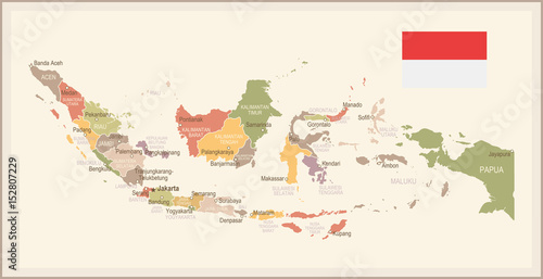 Indonesia - vintage map and flag - illustration Wallpaper Mural