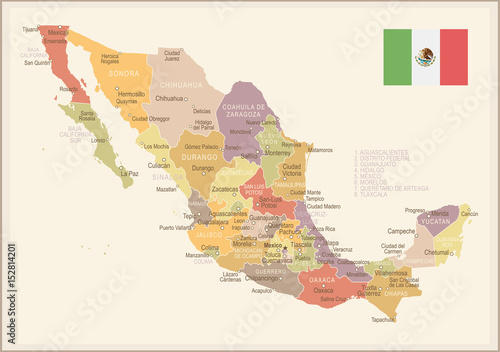 Mexico - vintage map and flag - illustration Canvas Print