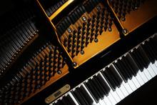 Piano Close Up. Grand Piano Detail