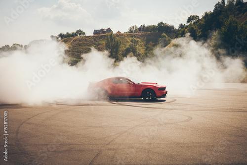 Leinwand Poster Blured car drifting, motion blur drift