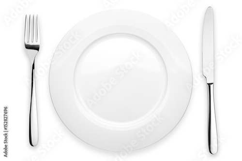 Empty plate, fork, knife, clipping path, white background, isolated, top view from first person