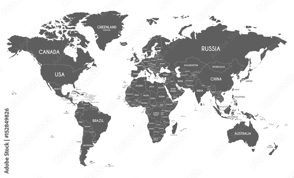 Fototapety, obrazy: Political World Map vector illustration isolated on white background. Editable and clearly labeled layers.