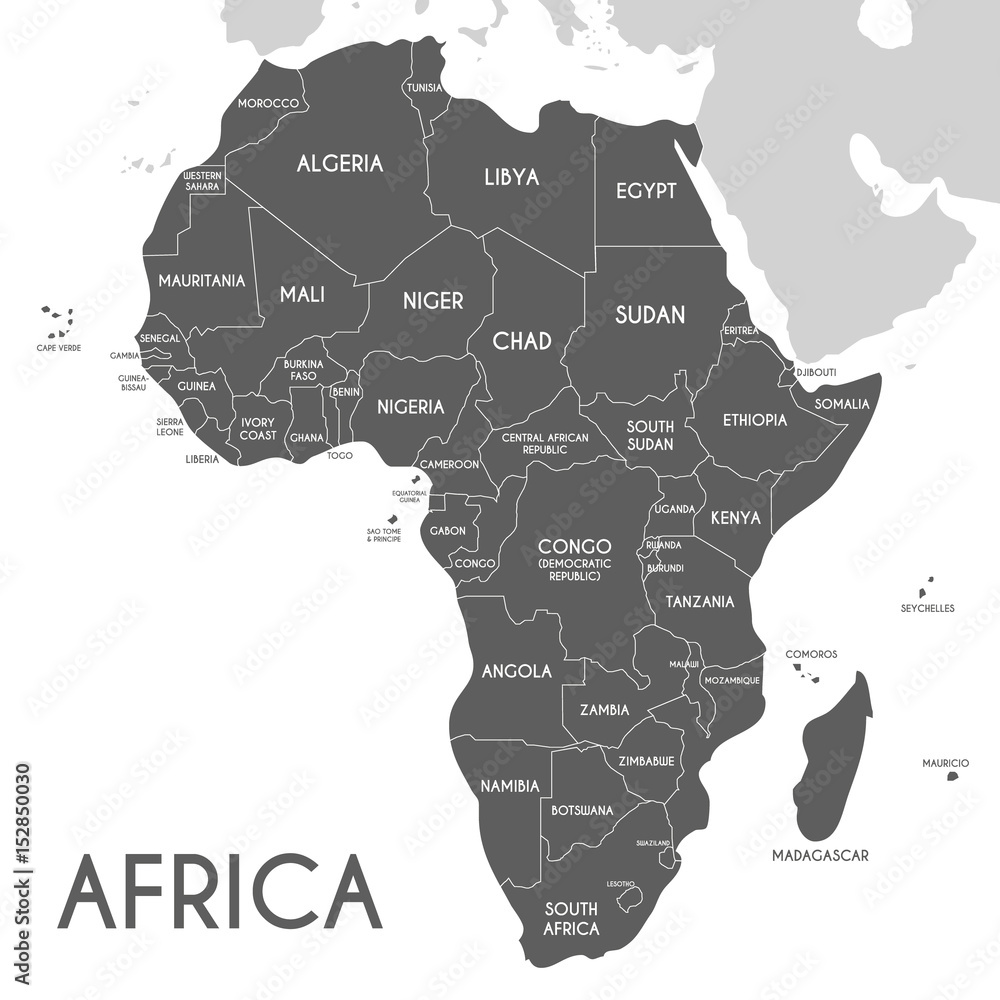 Fotografía Political Africa Map vector illustration isolated on white background