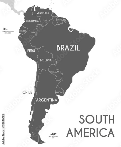 Valokuva  Political South America Map vector illustration isolated on white background