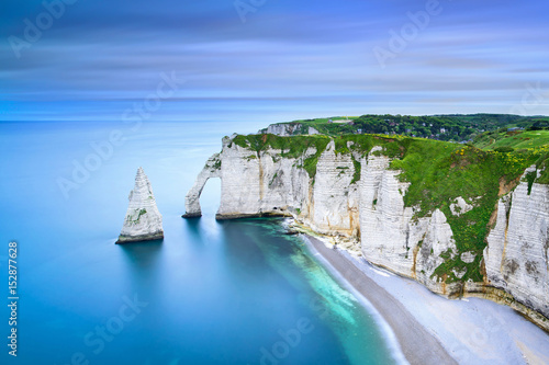 Etretat Aval cliff and rocks landmark and ocean Canvas Print