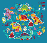 Fototapeta Dinusie - Vector cartoon sticker set of dinosaurs