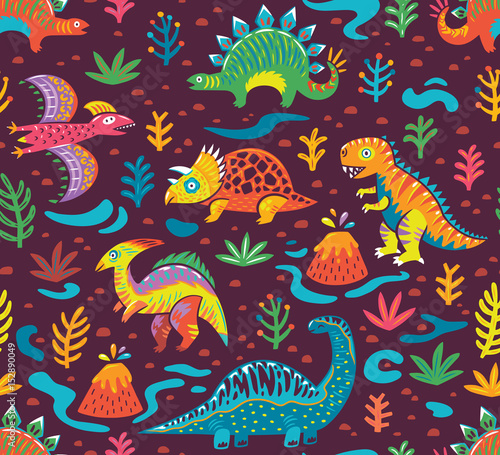 Fényképezés  Seamless pattern with cartoon dinosaurs