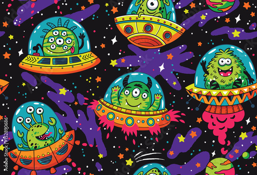 Foto op Aluminium Kunstmatig Fantastic creatures monsters seamless pattern