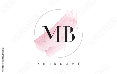 Fotografía  MB M B Watercolor Letter Logo Design with Circular Brush Pattern.