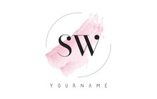 SW S W Watercolor Letter Logo Design With Circular Brush Pattern.