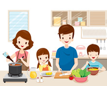 Happy Family Cooking Food In T...