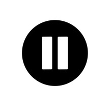 Pause Button. Vector Icon In Linear Style Isolated On White. Audio Or Video Icon.