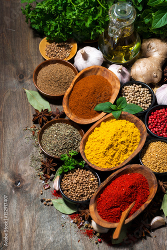 Cadres-photo bureau Herbe, epice assortment of oriental spices on a wooden background, vertical top view