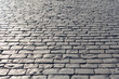 Pavement background in sunny day, cobblestone, Red Square, Moscow