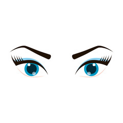 female eyes icon over white background. vector illustration