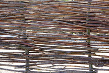 Wicker Fence Made Of Sticks