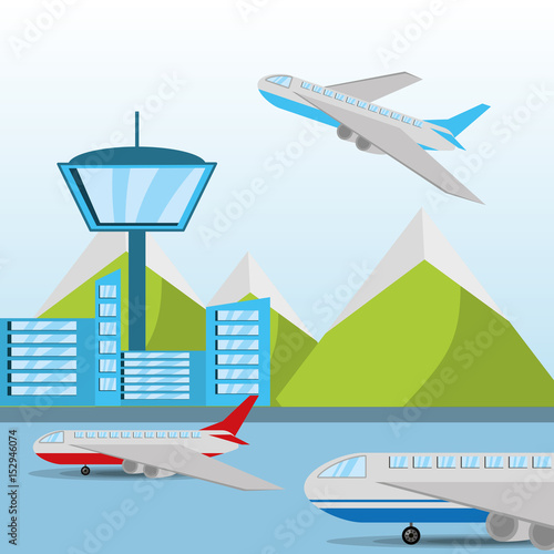Photo airplane flying around the airstrip with a beautiful landscape, vector illustrat