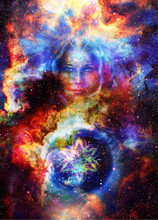 Goddess Woman With Ornamental Mandala And Planet Earth. Cosmic Space Background.