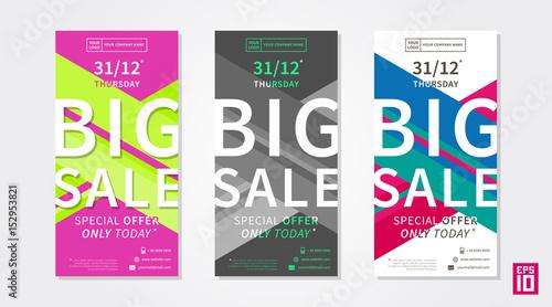 vector colorful promotion banner big sale business offer vertical