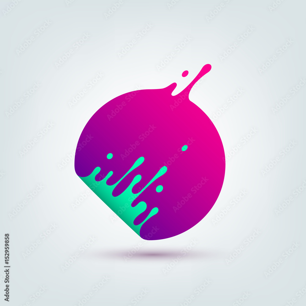 Fototapeta Vector illustration. Abstract colorful circle. Dynamic splash liquid shape. Background for poster, cover, banner, placard. Logo design